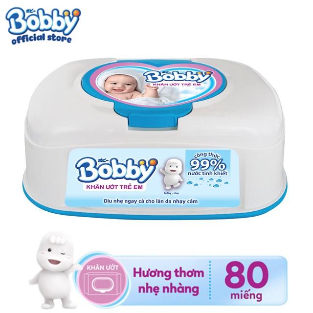 [HCM] Khăn ướt Bobby không mùi hộp tiện lợi 80...