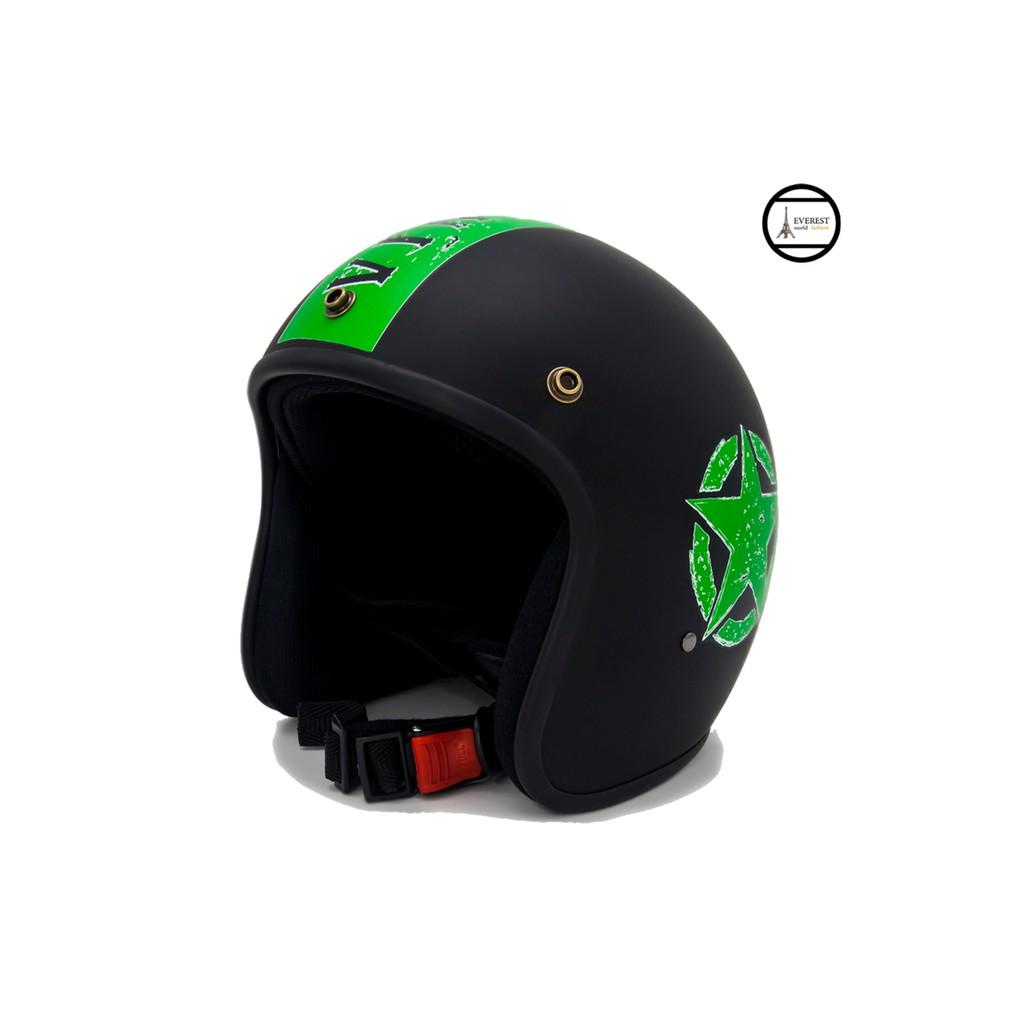 Mũ bảo hiểm 3/4 chuyên phượt - Sao Sọc Xanh lá