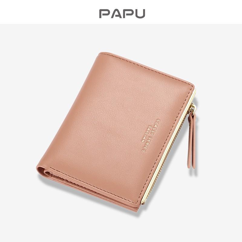 Ví cầm tay mini cao cấp PaPu da Pu nhiều ngăn đựng tiền thẻ ATM CMT VN15