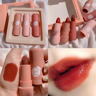 [CHÍNH HÃNG] Set Son 3 Cây HengFang Sweet Peach Hình Trụ Bám Màu Cực Tốt Không Khô Môi