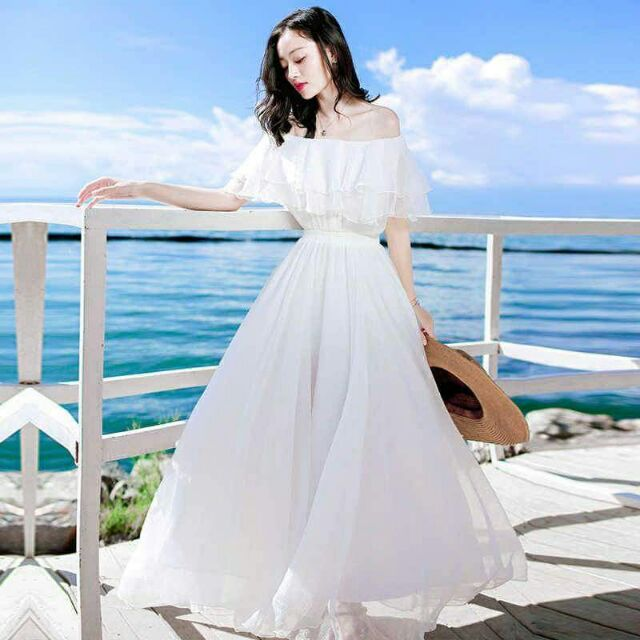 Đầm maxi trắng bèo tầng 360 trắng tinh khôi (hàng thiết kế cao cấp ...
