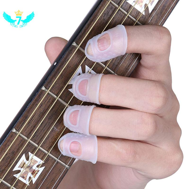 Set 8 Miếng Silicon Bảo Vệ Ngón Tay Khi Chơi Đàn Guitar / Ukulele Màu Trong Suốt