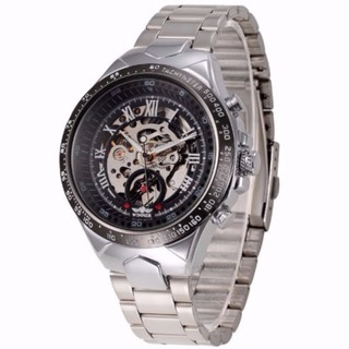 Đồng hồ nam máy cơ Automatic Winner đính đá TM432 - Đen Bạc