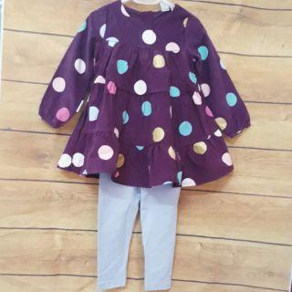 xả lỗ lẻ size: Sét váy nhung tăm và quần leging cho bé 9-20kg