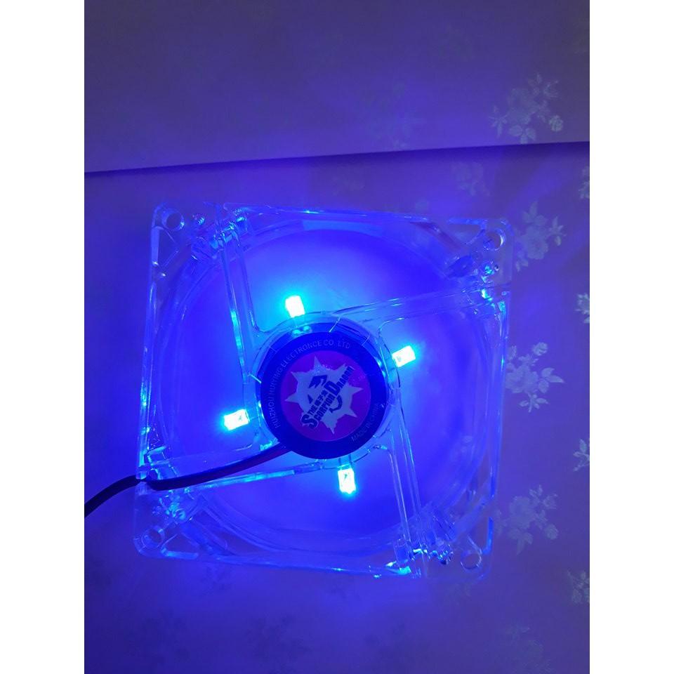 Quạt LED Màu Xanh 8*8 cm.Fan case 8 Có đèn LED 1 màu xanh.