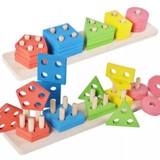 Thả hình gỗ 3D cao cấp ô khối cho bé thông minh