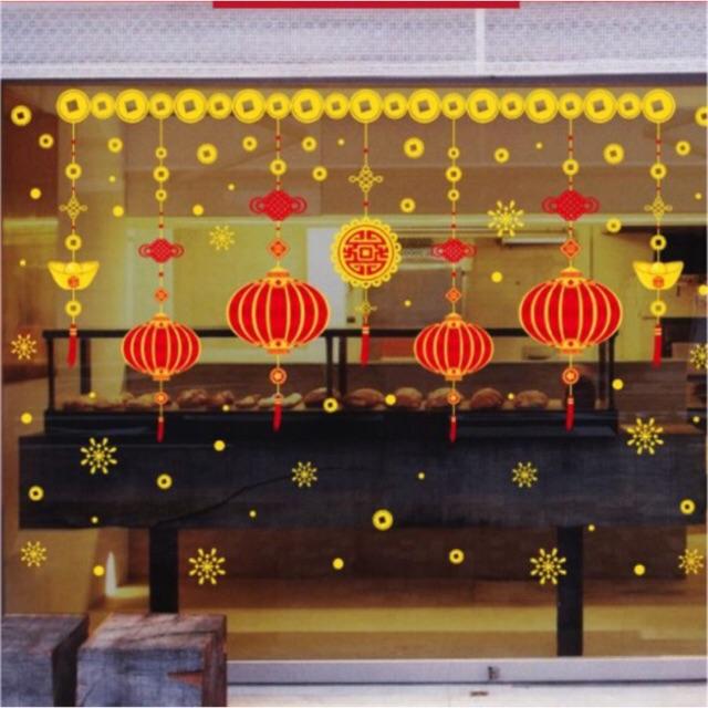 Decal Trang Trí Tết Hai Mặt Hít Tĩnh Điện Không Dơ Kính- Rèm dây lồng đèn đỏ viền Vàng
