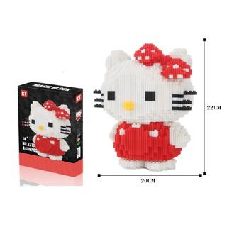 Bộ lắp ghép 4400 mảnh hình mèo Kitty đeo nơ chấm bi đỏ