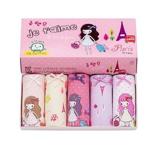 Set 5 quần lót bé gái Paris Je t'aime vải 100% cotton thương hiệu Hàn Quốc chất lượng cực tốt
