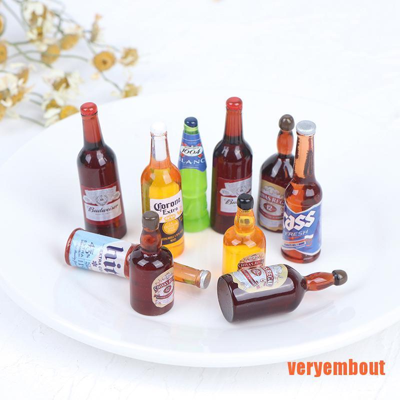 【UT】10Pcs 1:12 Dollhouse Miniature Drinks Wine Model Dolls Kitchen Accessories
