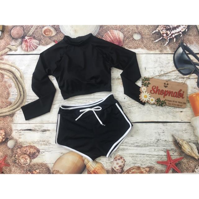 Đồ bơi bikini tay dài croptop đen trơn, quần short