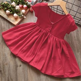 Đầm xòe bé gái họa tiết trơn CTF030 - Màu: Đỏ