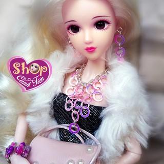 Phụ kiện Búp bê, Vòng cổ, bông tai Búp bê Barbie Handmade thời trang, Bộ Trang sức mini tự làm