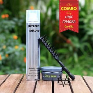 SCOMBO sáp vuốt tóc công nghệ Pháp Clay Wax+ Gôm xịt tóc Butterfly Shadow Tặng lược thumbnail