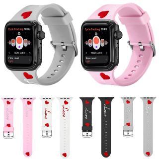 Dây Đeo Silicone Họa Tiết Trái Tim Cho Đồng Hồ Thông Minh Apple Watch 38mm 40mm 42mm 44mm Iwatch Series 6 SE 5 4 3 2 1