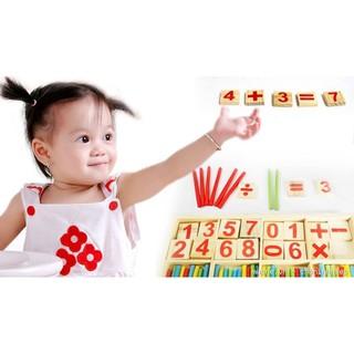 Hộp que đếm và khối gỗ học toán phát triển trí tuệ cho bé – Nho58