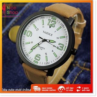 Đồng hồ đôi nam nữ Yazole dây da thật mặt kính chống xước thumbnail