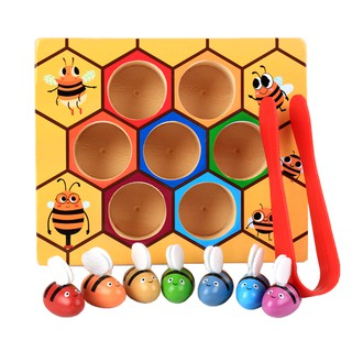 Wooden Montessori Bee Cliping Box Set Kids/Baby Educational Toy Gift