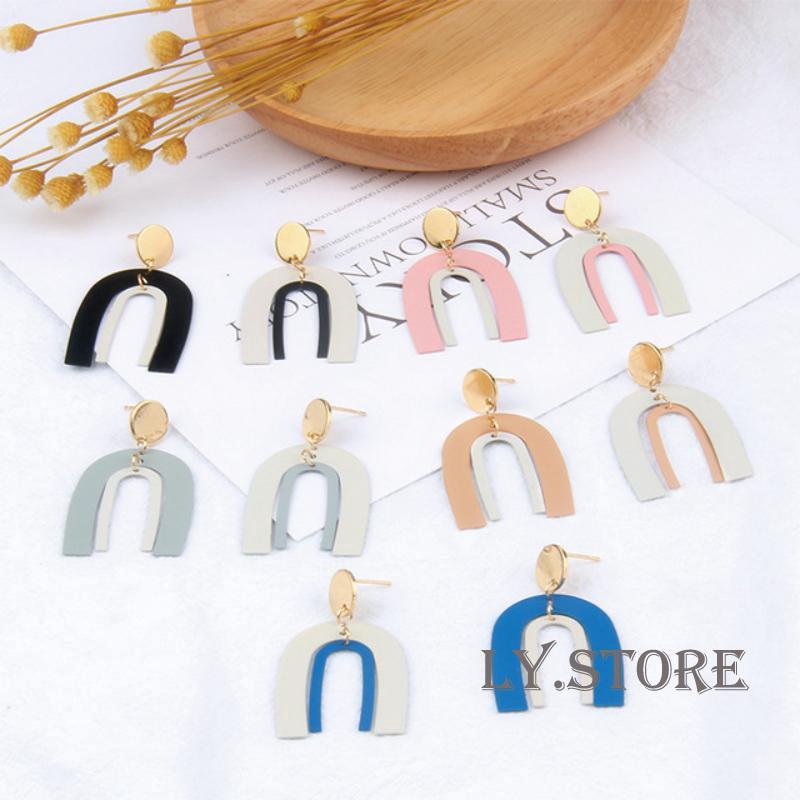 Khuyên tai hình chữ U thiết kế thanh lịch cho phái nữ