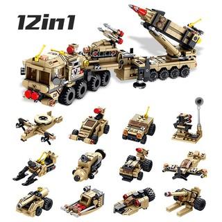 Bộ lắp ghép kiểu LEGO 12 in 1 mô hình PATRIOT Air Defense Missile, bộ ghép hình cho trẻ phát triển tính sáng tạo