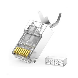 Hạt đầu bấm mạng bọc inox Cat7 thiết kế đuôi kẹp cố định vào cáp cao cấp UGREEN 70316