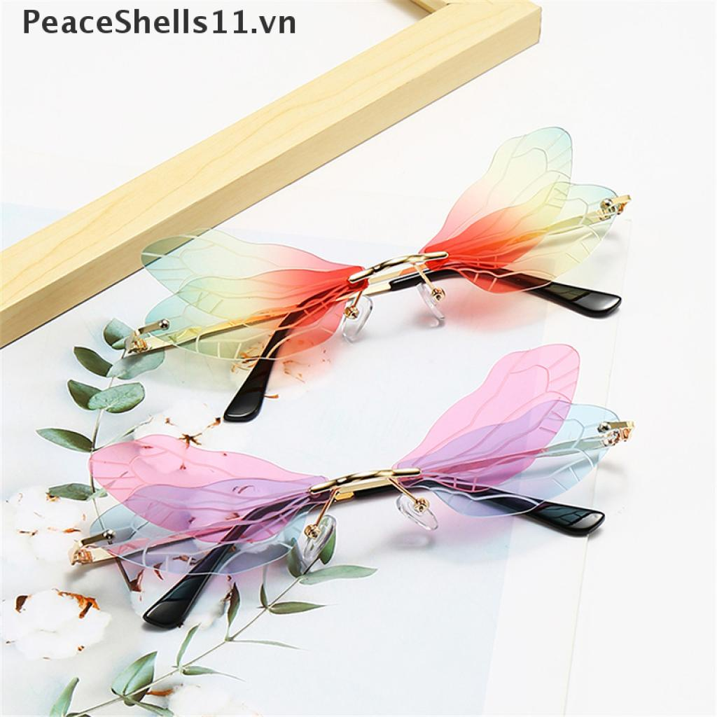 【PeaceShells11】 Fashion Rimless Dragonfly Wing Sunglasses Women Vintage Clear Ocean Lens Eyewear VN