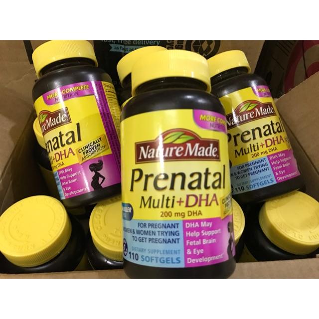 Date T1/21- Nature Made Prenatal Multi DHA loại 110 viên(Hàng Air-Bill Mỹ)