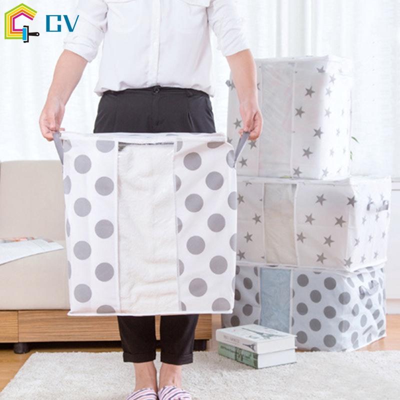 Pouch Organizer Foldable Storage Bag Clothes Blanket Pillow Quilt Organizer Closet Box