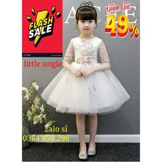 💃(💥 49% Hôm Nay 🎁 ) Đầm Công Bé Gái Trắng Ngắn Ren Thêu Cao Cấp cho bé ( 9kg - 40kg ) 💕💃