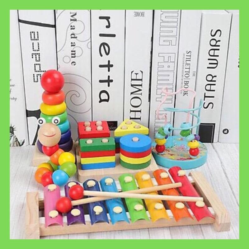 Combo 5 món đồ chơi gỗ an toàn cho bé- phát triển trí tuệ