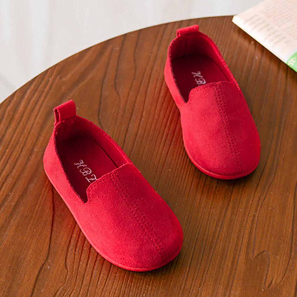 Giày Lười Da Mềm Đế Bằng Phong Cách Hàn Quốc Thời Trang Cho Bé