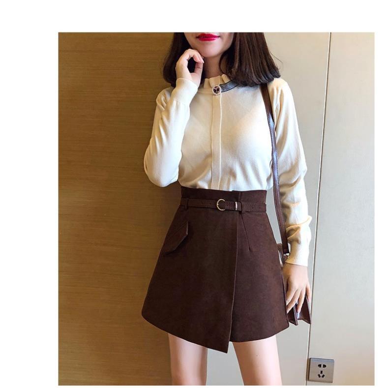 Quần Giả Váy Nữ Amee, Váy Chữ A Ngắn, Chất Vải Da Lộn Cao Cấp, Phong Cách Thời Trang Hàn Quốc Tặng Kèm Đai Siêu Xinh