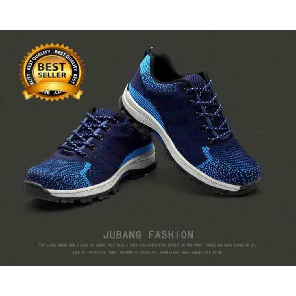 Male Safety shoes รองเท้าเซฟตี้ผ้าใบ หัวเหล็ก ระบายอากาศดี พื้นยางกันลื่น หัวเหล็ก พื้นเสริมแผ่นเหล็ก มี3สีให้เลือก สีดำ