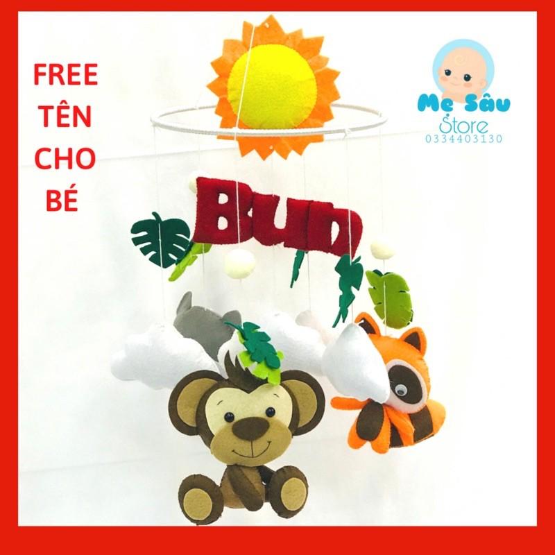 Đồ chơi treo nôi, treo cũi, xe đẩy có nhạc tự xoay kích thích thị giác cho bé – mẫu khỉ, cáo, chồn.