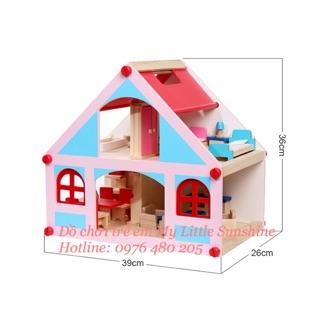 Nhà búp bê Barbie bằng gỗ cho bé [có nội thất]