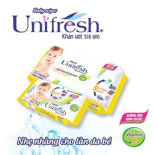 Khăn ướt Unifresh 80 tờ màu vàng vitamin E