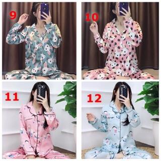 16 mẫu giá sốc Pijama lụa hình dài tay , chất lụa Hàn , freesize dưới 60kg – ảnh thật