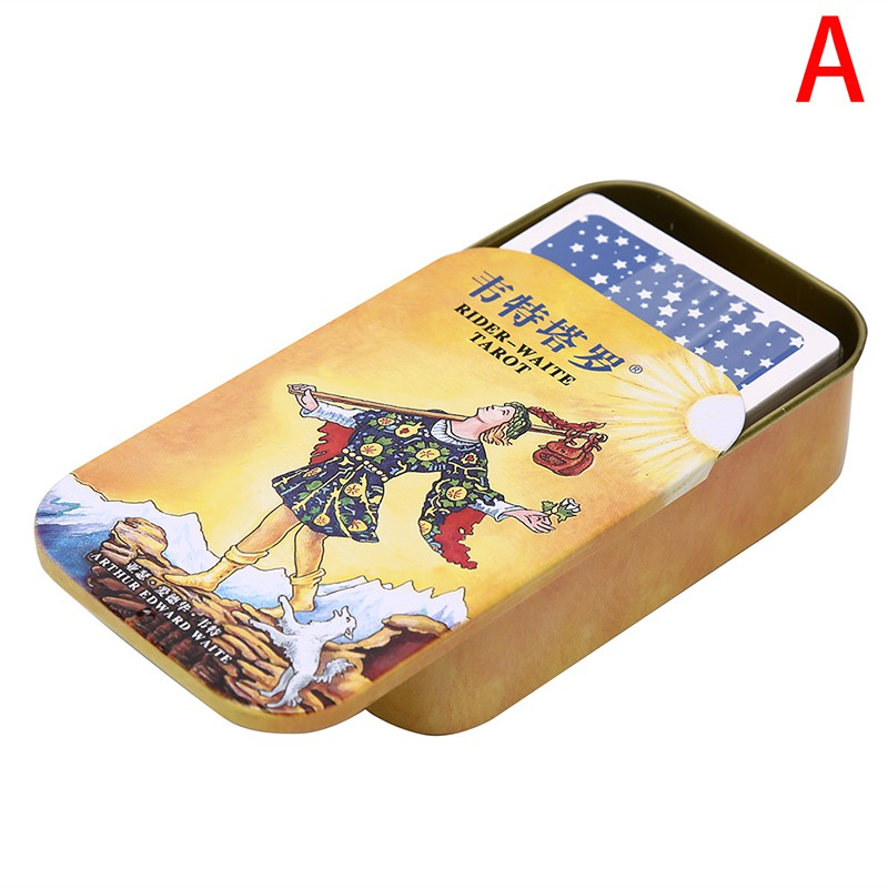 Mini Tarot Cards Mysterious Divination Personal Playing Card Game With Metal Box