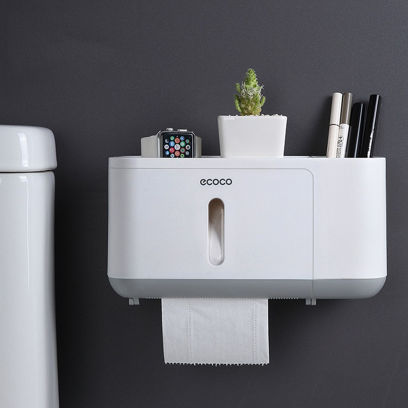 Hộp đựng giấy vệ sinh đa năng Ecoco dán tường cao cấp mẫu mới (hàng có sẵn)