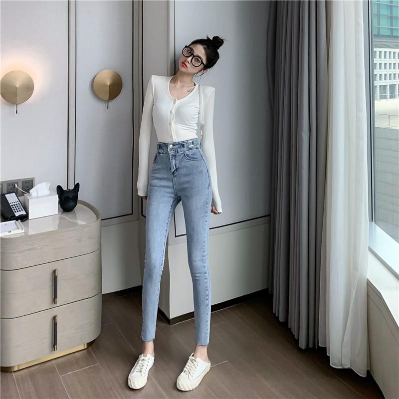 Quần Jean Nữ Bó Cạp Cao Co Giãn/Quần Bò Nữ | Shopee Việt Nam