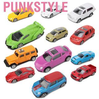 Punkstyle 1:64 12 Pcs/Set Miniature Car Toy Vehicles Cartoon Model Toys Simulation Die-Cast Set Gift for Kids Bo
