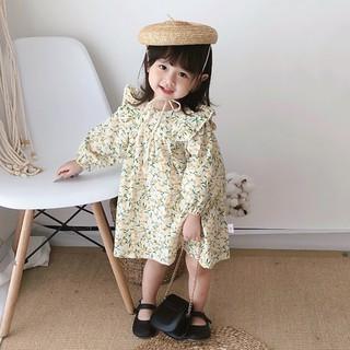 đầm công chúa Công Chúa Tay Dài In Hoa Cho Bé Gái