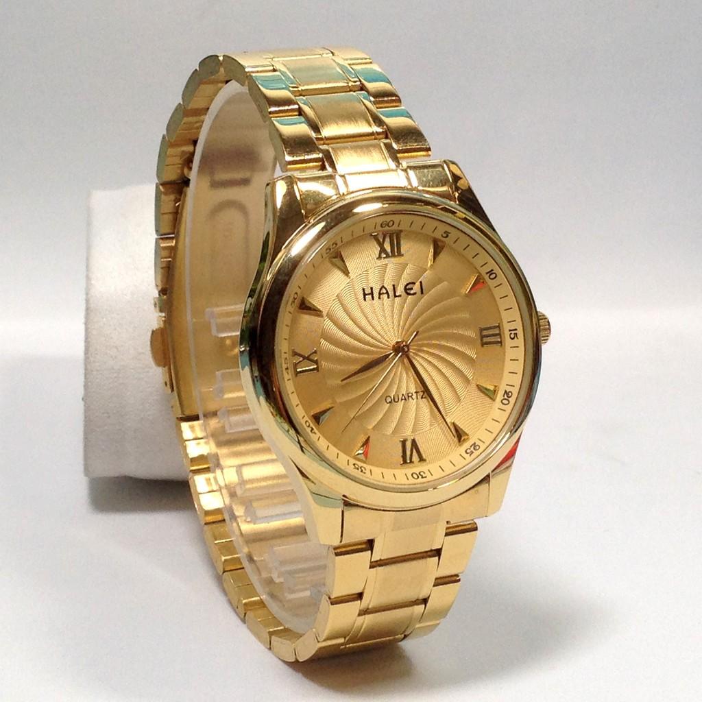 Đồng hồ nam HALEI HLL200 dây thép không gỉ cao cấp ( Mặt trắng + Mặt vàng )