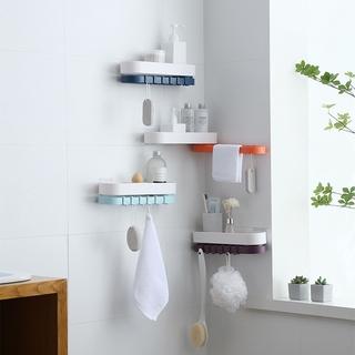 Giá treo hai lớp không đục lỗ Giá treo khăn tắm giá treo đồ vệ sinh cá nhân có móc treo giá treo tường