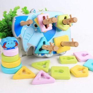 Đồ chơi gỗ montessori thả cọc 5 hình khối con voi xanh