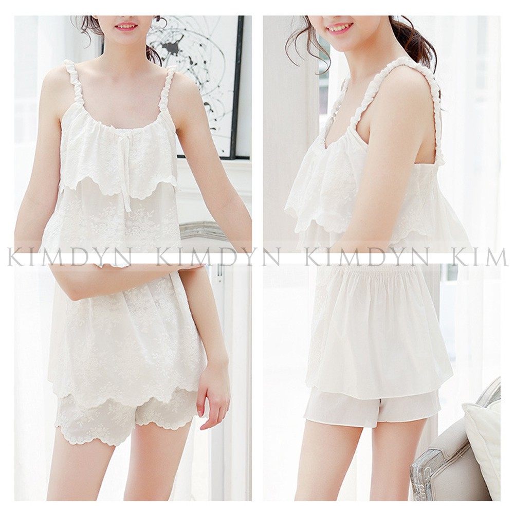 Bộ đồ ngủ hai dây đồ bộ pijama mặc nhà cotton gợi cảm màu trắng [KDDB03]