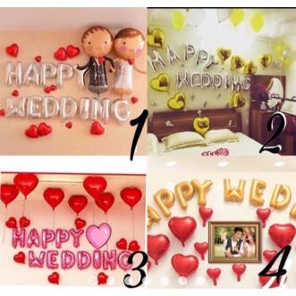 BONG BÓNG TRANG TRÍ ĐÁM CƯỚI SET HAPPY WEDDING