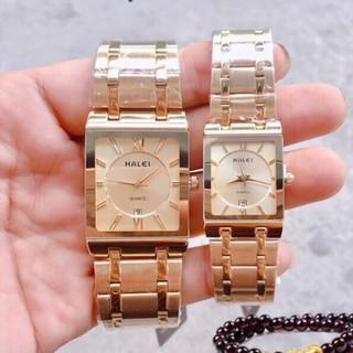 Đồng hồ nam nữ HALEI máy Nhật cặp đôi dây thép dây vàng mặt vuông vàng chống ghỉ chống bay màu chống xước, chống nước