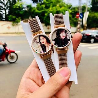 [ In hình theo yêu cầu ] Đồng hồ thời trang nữ dây lưới nam châm QW322