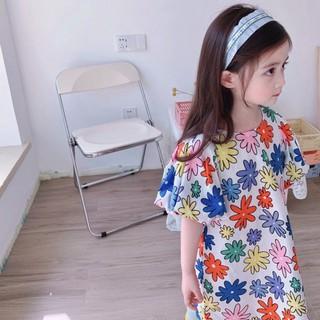 Váy xuông hoa đồng tiền bé gái